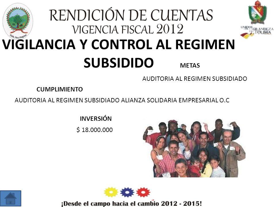 VIGILANCIA Y CONTROL AL REGIMEN SUBSIDIDO METAS CUMPLIMIENTO INVERSIÓN AUDITORIA AL REGIMEN SUBSIDIADO AUDITORIA AL REGIMEN SUBSIDIADO ALIANZA SOLIDARIA EMPRESARIAL O.C $ 18.000.000