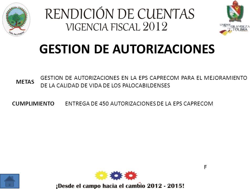 GESTION DE AUTORIZACIONES METAS CUMPLIMIENTO GESTION DE AUTORIZACIONES EN LA EPS CAPRECOM PARA EL MEJORAMIENTO DE LA CALIDAD DE VIDA DE LOS PALOCABILDENSES ENTREGA DE 450 AUTORIZACIONES DE LA EPS CAPRECOM F