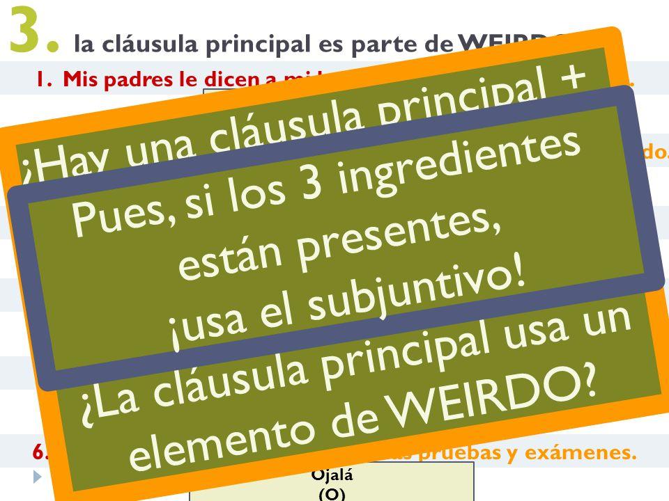 3. Es bueno que estés en forma. 3. la cláusula principal es parte de WEIRDO 4. Recomiendo que pruebas la paella. Es deliciosa. 2. Los aficionados está