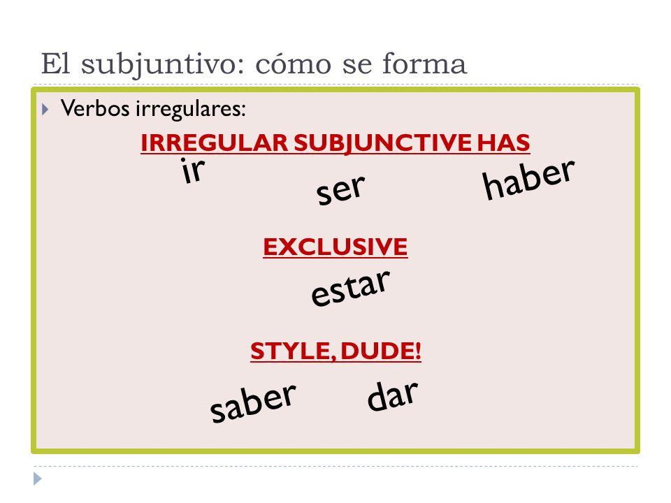 El subjuntivo: cómo se forma Verbos irregulares: IRREGULAR SUBJUNCTIVE HAS EXCLUSIVE STYLE, DUDE! ir ser haber estar saber dar