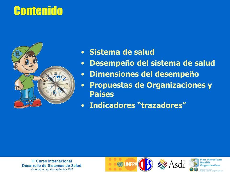 III Curso Internacional Desarrollo de Sistemas de Salud Nicaaragua, agosto-septiembre 2007 Contenido Sistema de salud Desempeño del sistema de salud D