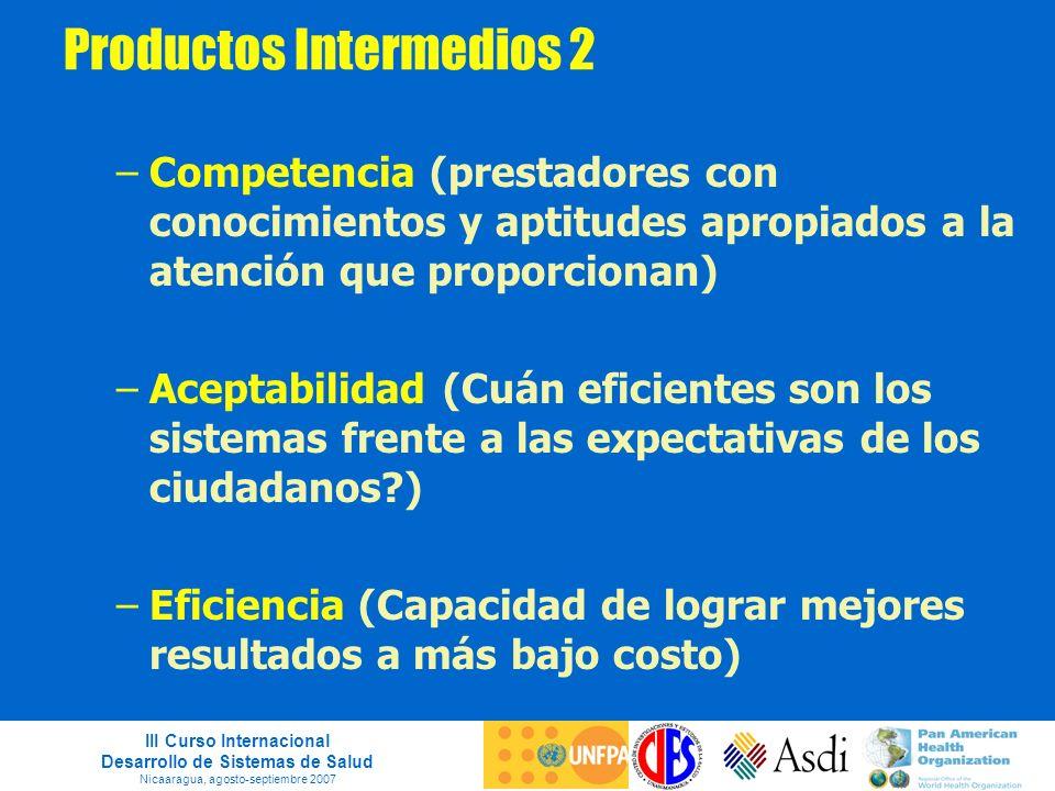 III Curso Internacional Desarrollo de Sistemas de Salud Nicaaragua, agosto-septiembre 2007 Productos Intermedios 2 –Competencia (prestadores con conoc