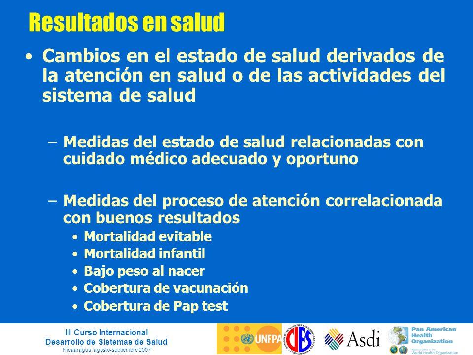 III Curso Internacional Desarrollo de Sistemas de Salud Nicaaragua, agosto-septiembre 2007 Resultados en salud Cambios en el estado de salud derivados