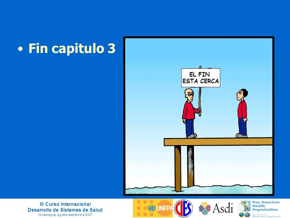 III Curso Internacional Desarrollo de Sistemas de Salud Nicaaragua, agosto-septiembre 2007 Fin capitulo 3 EL FIN ESTA CERCA