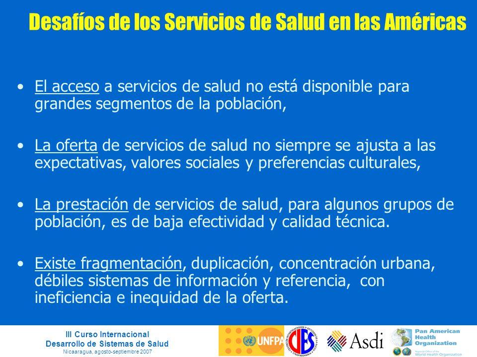 III Curso Internacional Desarrollo de Sistemas de Salud Nicaaragua, agosto-septiembre 2007 Desafíos de los Servicios de Salud en las Américas El acces