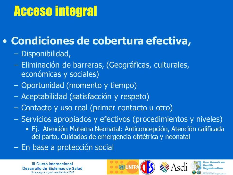 III Curso Internacional Desarrollo de Sistemas de Salud Nicaaragua, agosto-septiembre 2007 Acceso integral Condiciones de cobertura efectiva, –Disponi