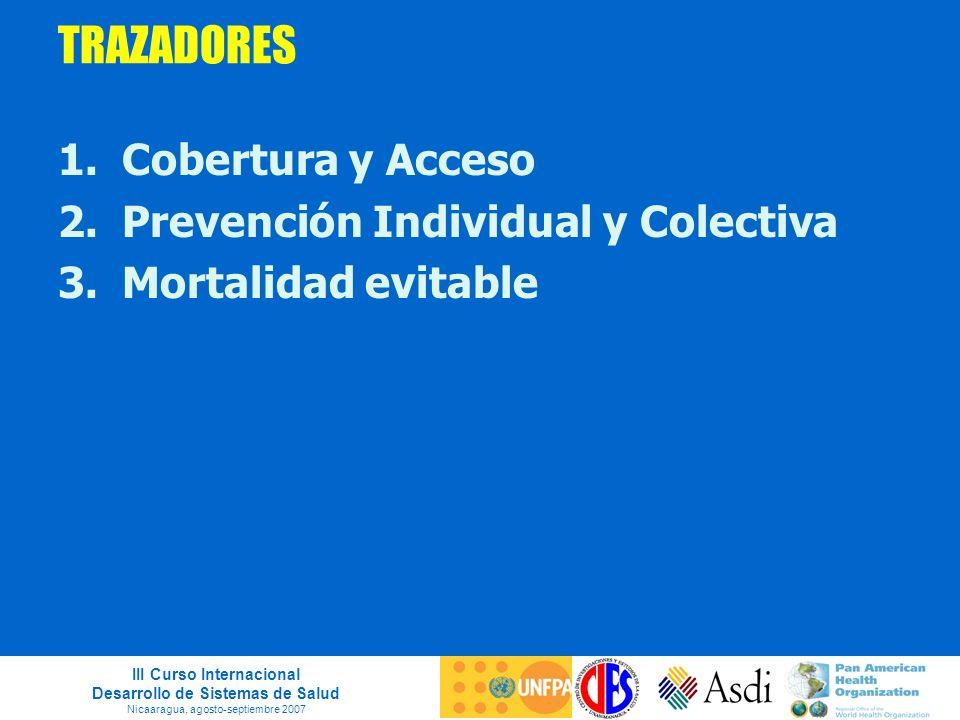 III Curso Internacional Desarrollo de Sistemas de Salud Nicaaragua, agosto-septiembre 2007 TRAZADORES 1.Cobertura y Acceso 2.Prevención Individual y C
