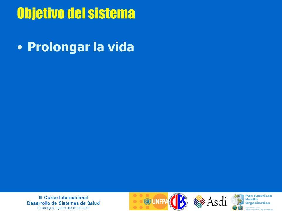 III Curso Internacional Desarrollo de Sistemas de Salud Nicaaragua, agosto-septiembre 2007 Objetivo del sistema Prolongar la vida
