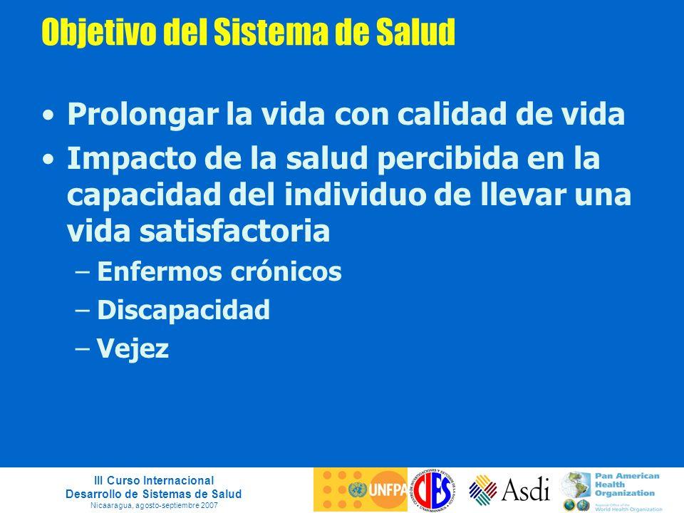 III Curso Internacional Desarrollo de Sistemas de Salud Nicaaragua, agosto-septiembre 2007 Objetivo del Sistema de Salud Prolongar la vida con calidad