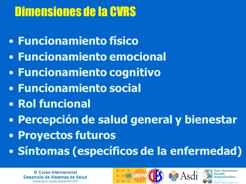 III Curso Internacional Desarrollo de Sistemas de Salud Nicaaragua, agosto-septiembre 2007 Dimensiones de la CVRS Funcionamiento físico Funcionamiento
