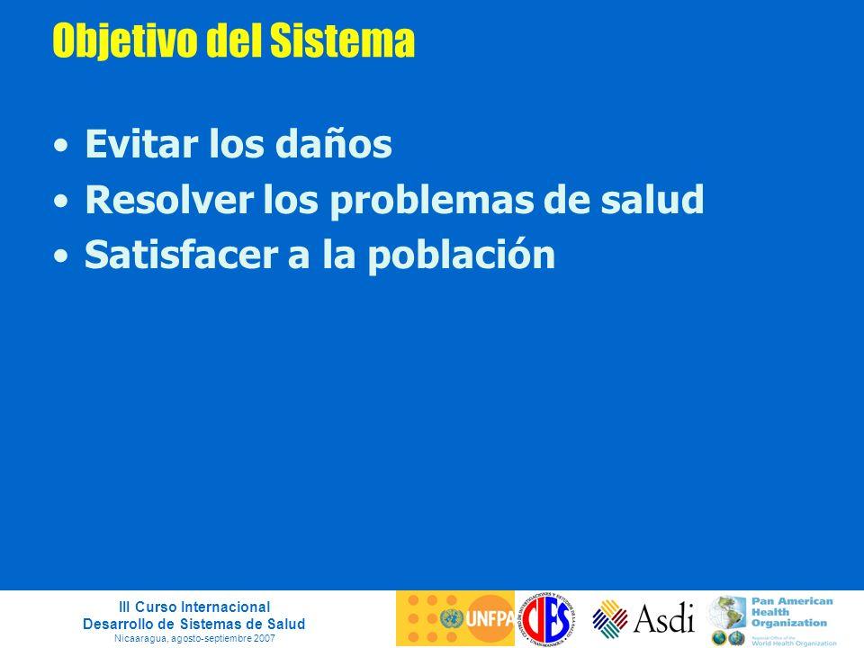 III Curso Internacional Desarrollo de Sistemas de Salud Nicaaragua, agosto-septiembre 2007 Objetivo del Sistema Evitar los daños Resolver los problema
