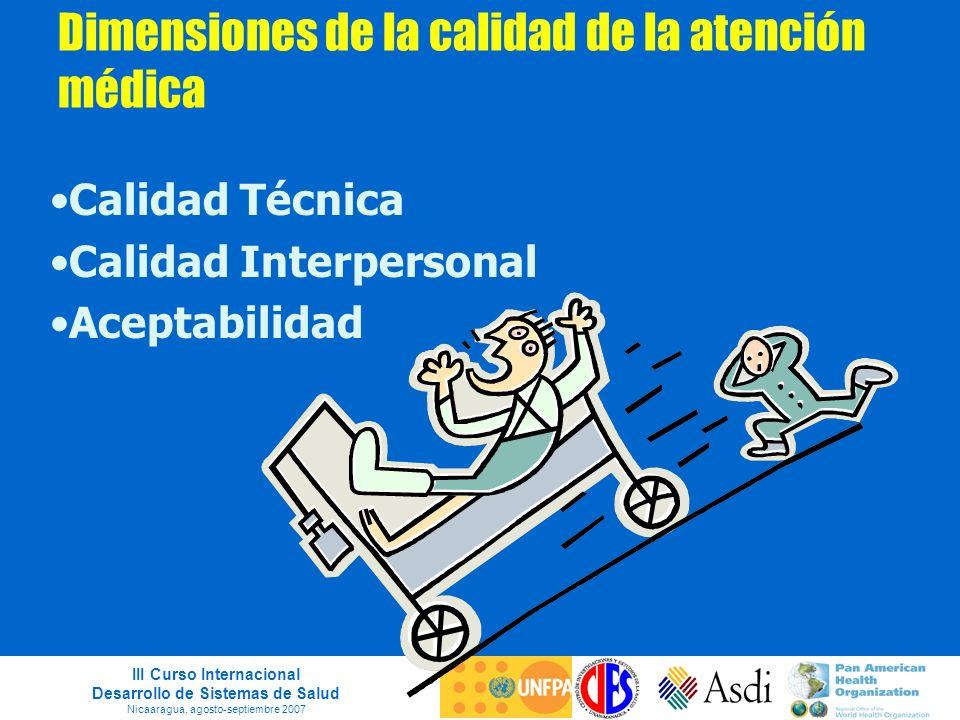 III Curso Internacional Desarrollo de Sistemas de Salud Nicaaragua, agosto-septiembre 2007 Dimensiones de la calidad de la atención médica Calidad Téc