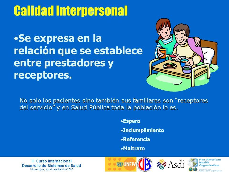 III Curso Internacional Desarrollo de Sistemas de Salud Nicaaragua, agosto-septiembre 2007 Calidad Interpersonal Se expresa en la relación que se esta