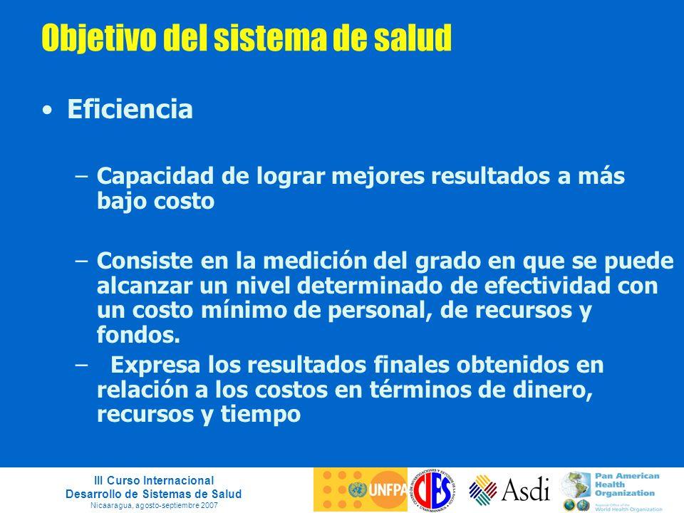 III Curso Internacional Desarrollo de Sistemas de Salud Nicaaragua, agosto-septiembre 2007 Objetivo del sistema de salud Eficiencia –Capacidad de logr