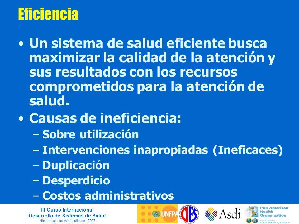 III Curso Internacional Desarrollo de Sistemas de Salud Nicaaragua, agosto-septiembre 2007 Eficiencia Un sistema de salud eficiente busca maximizar la