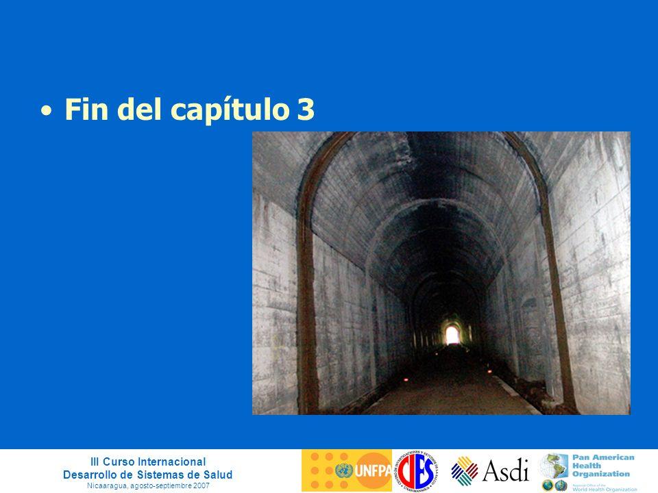 III Curso Internacional Desarrollo de Sistemas de Salud Nicaaragua, agosto-septiembre 2007 Fin del capítulo 3