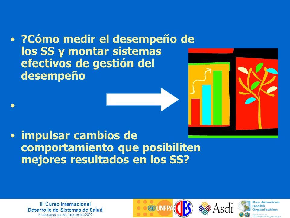 III Curso Internacional Desarrollo de Sistemas de Salud Nicaaragua, agosto-septiembre 2007 ?Cómo medir el desempeño de los SS y montar sistemas efecti