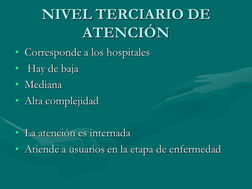 NIVEL TERCIARIO DE ATENCIÓN Corresponde a los hospitalesCorresponde a los hospitales Hay de baja Hay de baja MedianaMediana Alta complejidadAlta compl