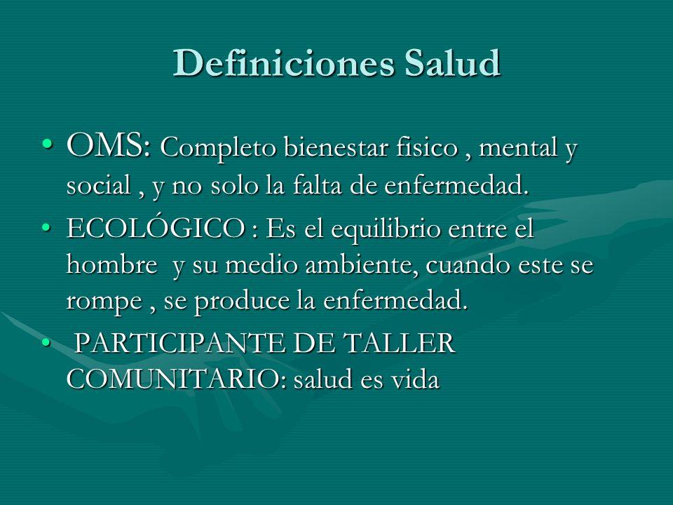 Definiciones Salud OMS: Completo bienestar fisico, mental y social, y no solo la falta de enfermedad.OMS: Completo bienestar fisico, mental y social,