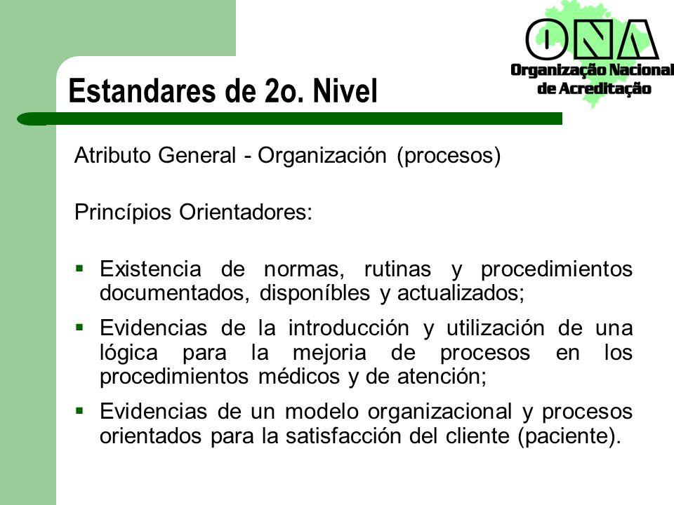 Atributo General - Organización (procesos) Princípios Orientadores: Existencia de normas, rutinas y procedimientos documentados, disponíbles y actuali