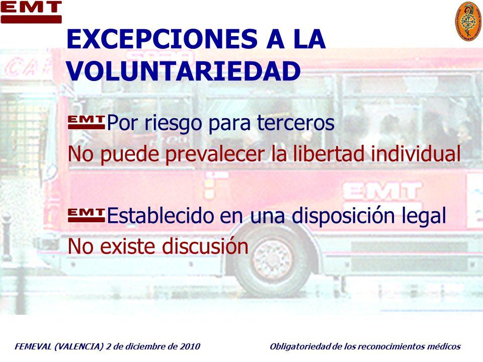 FEMEVAL (VALENCIA) 2 de diciembre de 2010Obligatoriedad de los reconocimientos médicos EXCEPCIONES A LA VOLUNTARIEDAD Por riesgo para terceros No pued