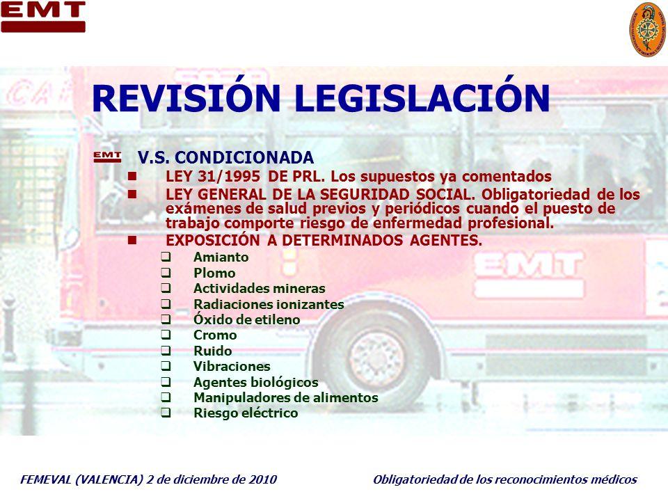 FEMEVAL (VALENCIA) 2 de diciembre de 2010Obligatoriedad de los reconocimientos médicos REVISIÓN LEGISLACIÓN V.S. CONDICIONADA LEY 31/1995 DE PRL. Los