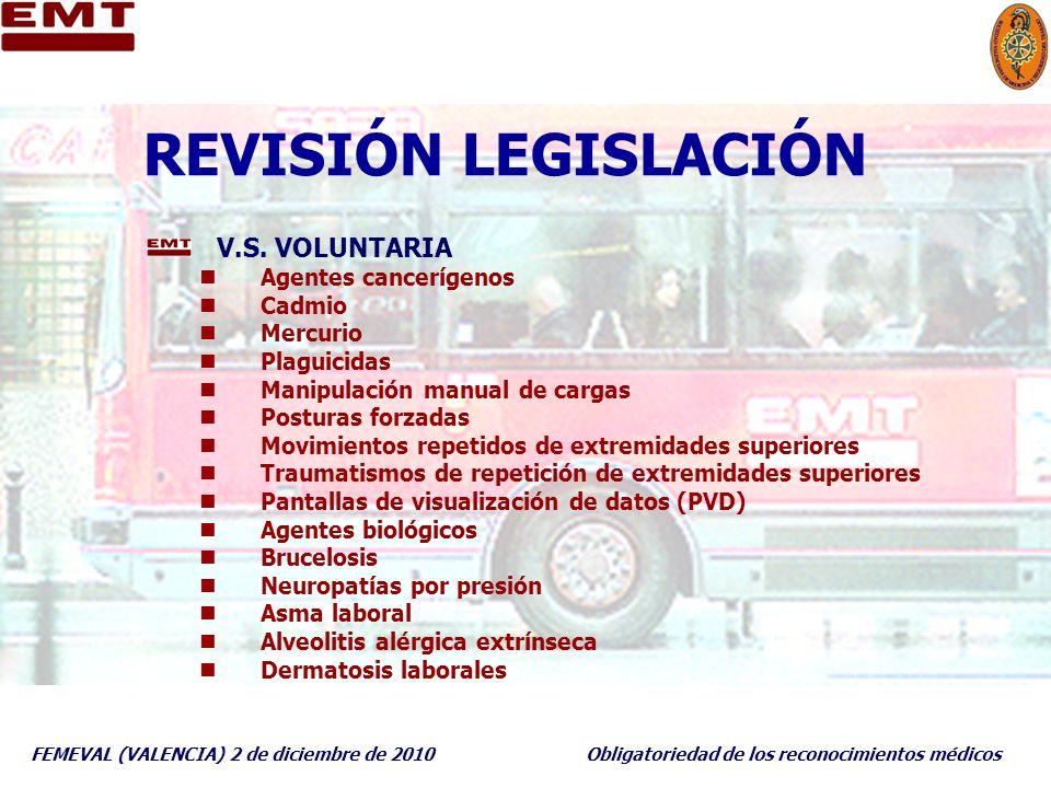 FEMEVAL (VALENCIA) 2 de diciembre de 2010Obligatoriedad de los reconocimientos médicos REVISIÓN LEGISLACIÓN V.S. VOLUNTARIA Agentes cancerígenos Cadmi