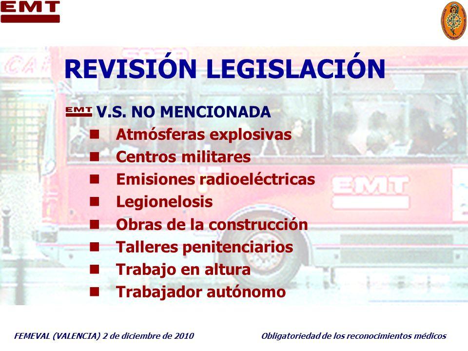 FEMEVAL (VALENCIA) 2 de diciembre de 2010Obligatoriedad de los reconocimientos médicos REVISIÓN LEGISLACIÓN V.S. NO MENCIONADA Atmósferas explosivas C