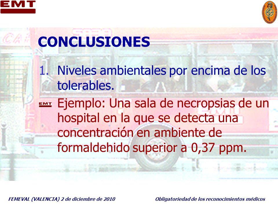 FEMEVAL (VALENCIA) 2 de diciembre de 2010Obligatoriedad de los reconocimientos médicos CONCLUSIONES 1.Niveles ambientales por encima de los tolerables
