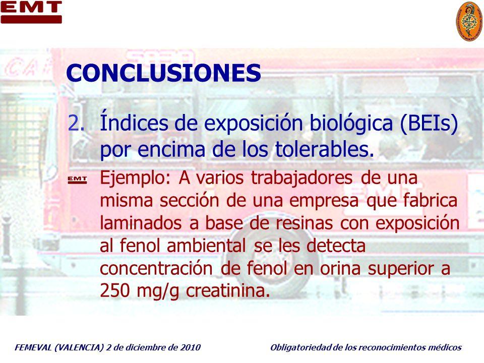 FEMEVAL (VALENCIA) 2 de diciembre de 2010Obligatoriedad de los reconocimientos médicos CONCLUSIONES 2.Índices de exposición biológica (BEIs) por encim