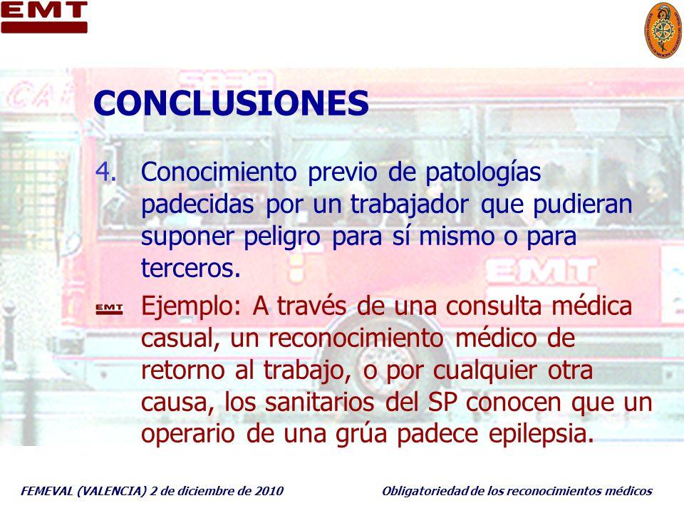 FEMEVAL (VALENCIA) 2 de diciembre de 2010Obligatoriedad de los reconocimientos médicos CONCLUSIONES 4.Conocimiento previo de patologías padecidas por