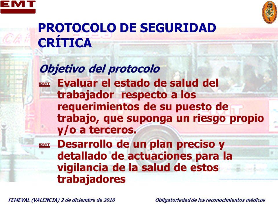 FEMEVAL (VALENCIA) 2 de diciembre de 2010Obligatoriedad de los reconocimientos médicos PROTOCOLO DE SEGURIDAD CRÍTICA Objetivo del protocolo Evaluar e