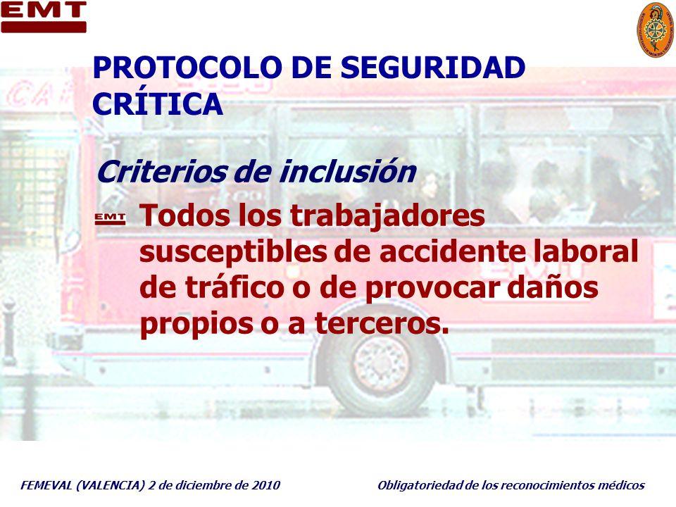 FEMEVAL (VALENCIA) 2 de diciembre de 2010Obligatoriedad de los reconocimientos médicos PROTOCOLO DE SEGURIDAD CRÍTICA Criterios de inclusión Todos los