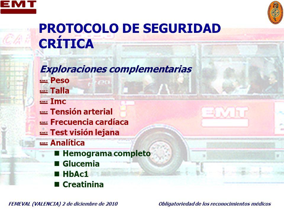 FEMEVAL (VALENCIA) 2 de diciembre de 2010Obligatoriedad de los reconocimientos médicos PROTOCOLO DE SEGURIDAD CRÍTICA Exploraciones complementarias Pe