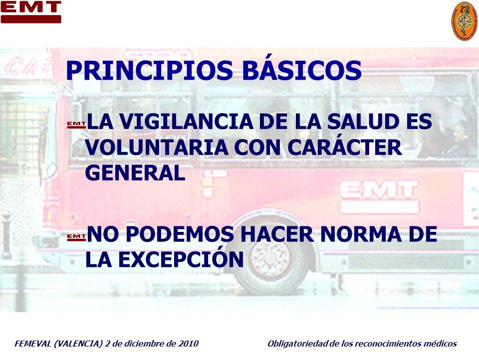FEMEVAL (VALENCIA) 2 de diciembre de 2010Obligatoriedad de los reconocimientos médicos PRINCIPIOS BÁSICOS LA VIGILANCIA DE LA SALUD ES VOLUNTARIA CON