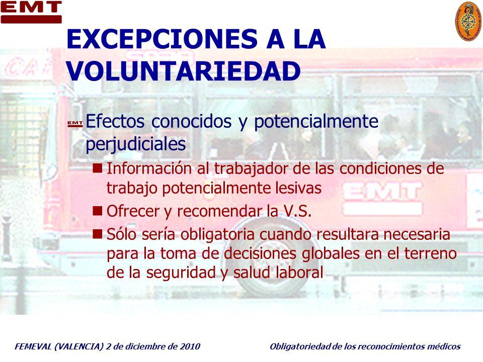 FEMEVAL (VALENCIA) 2 de diciembre de 2010Obligatoriedad de los reconocimientos médicos EXCEPCIONES A LA VOLUNTARIEDAD Efectos conocidos y potencialmen