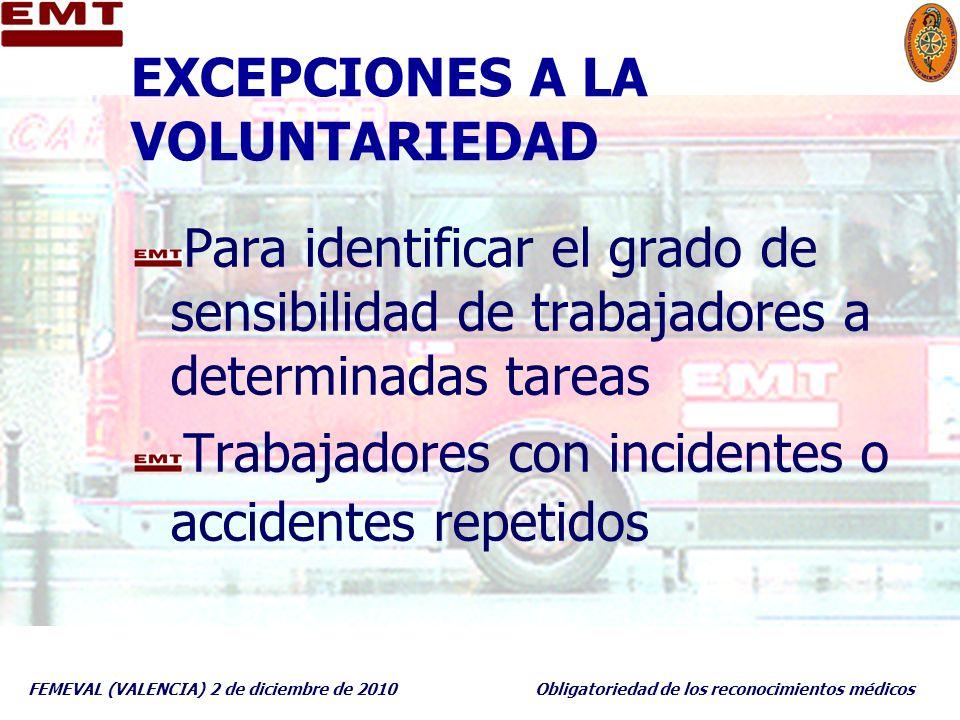 FEMEVAL (VALENCIA) 2 de diciembre de 2010Obligatoriedad de los reconocimientos médicos EXCEPCIONES A LA VOLUNTARIEDAD Para identificar el grado de sen
