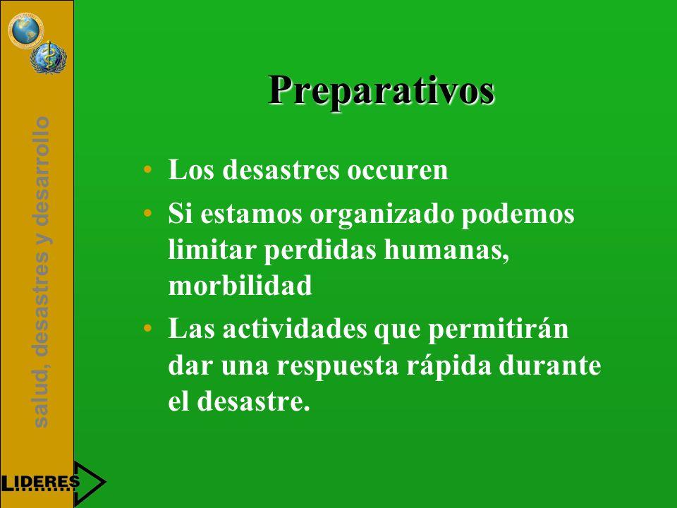 salud, desastres y desarrollo Preparativos Los desastres occuren Si estamos organizado podemos limitar perdidas humanas, morbilidad Las actividades qu