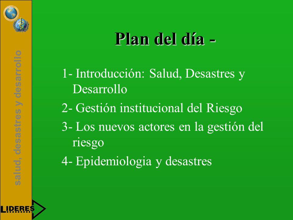 salud, desastres y desarrollo Plan del día - 1- Introducción: Salud, Desastres y Desarrollo 2- Gestión institucional del Riesgo 3- Los nuevos actores