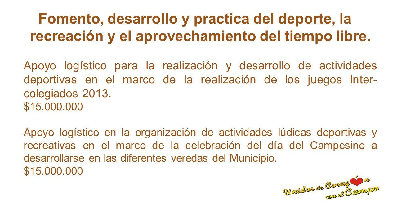 Dotación de escenarios deportivos e implementación para la practica del Deporte.