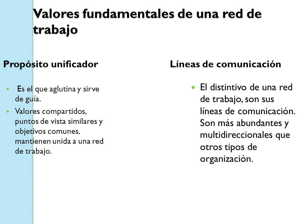 Valores fundamentales de una red de trabajo Propósito unificador Es el que aglutina y sirve de guía. Valores compartidos, puntos de vista similares y
