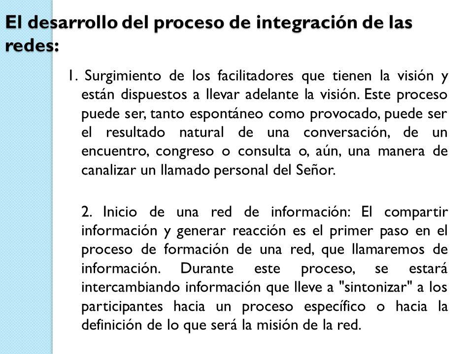 El desarrollo del proceso de integración de las redes: 1. Surgimiento de los facilitadores que tienen la visión y están dispuestos a llevar adelante l