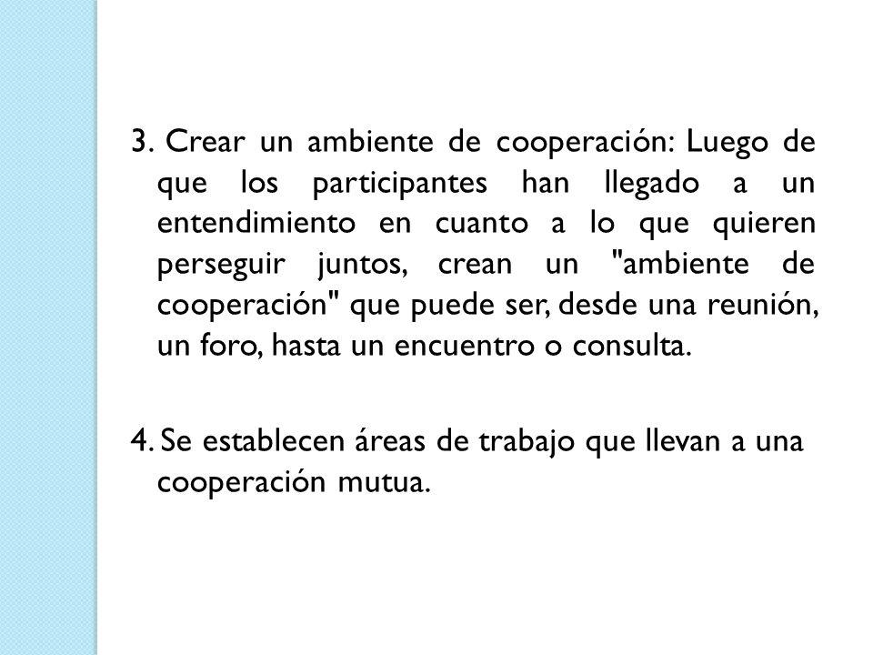 3. Crear un ambiente de cooperación: Luego de que los participantes han llegado a un entendimiento en cuanto a lo que quieren perseguir juntos, crean