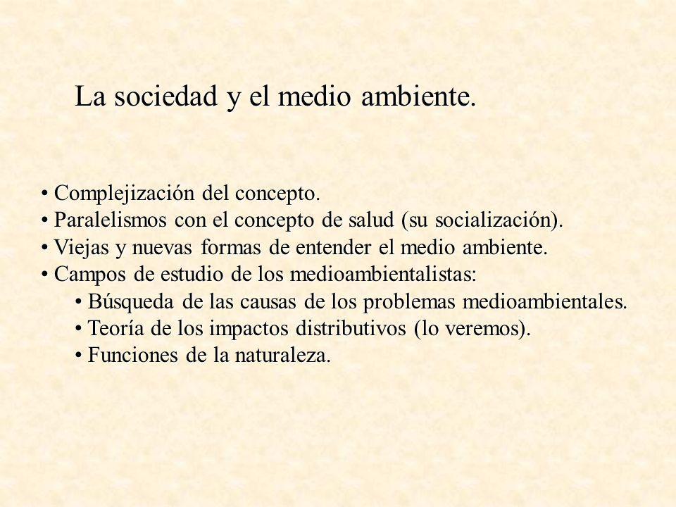 La sociedad y el medio ambiente. Complejización del concepto. Complejización del concepto. Paralelismos con el concepto de salud (su socialización). P