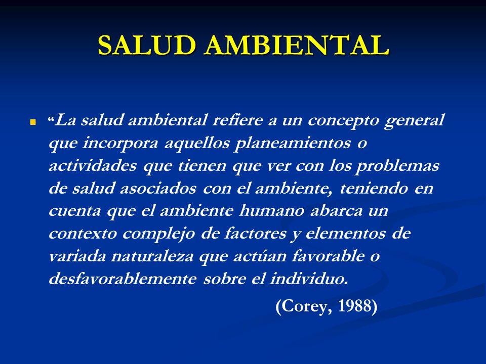 SALUD AMBIENTAL La salud ambiental refiere a un concepto general que incorpora aquellos planeamientos o actividades que tienen que ver con los problem