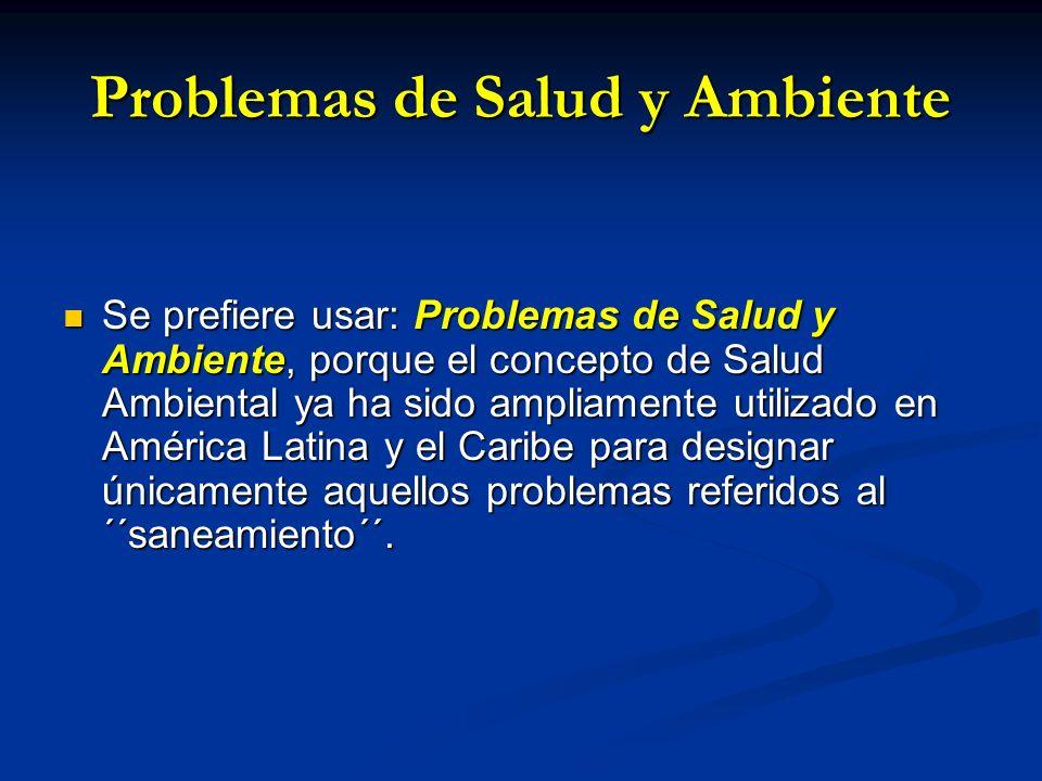 Problemas de Salud y Ambiente Se prefiere usar: Problemas de Salud y Ambiente, porque el concepto de Salud Ambiental ya ha sido ampliamente utilizado
