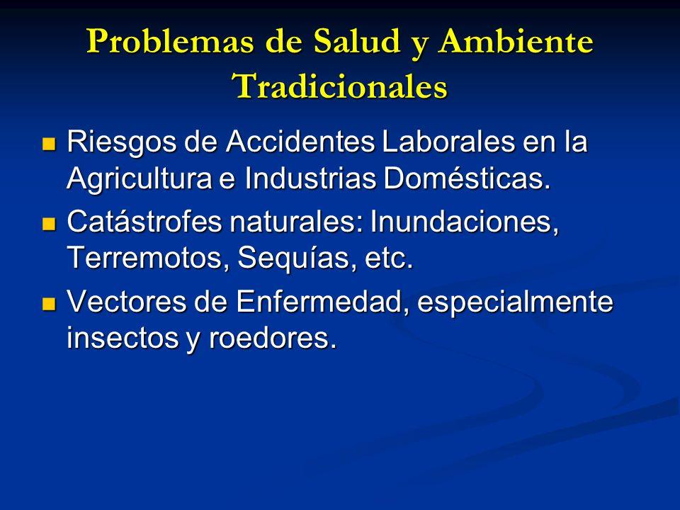 Problemas de Salud y Ambiente Tradicionales Riesgos de Accidentes Laborales en la Agricultura e Industrias Domésticas. Riesgos de Accidentes Laborales