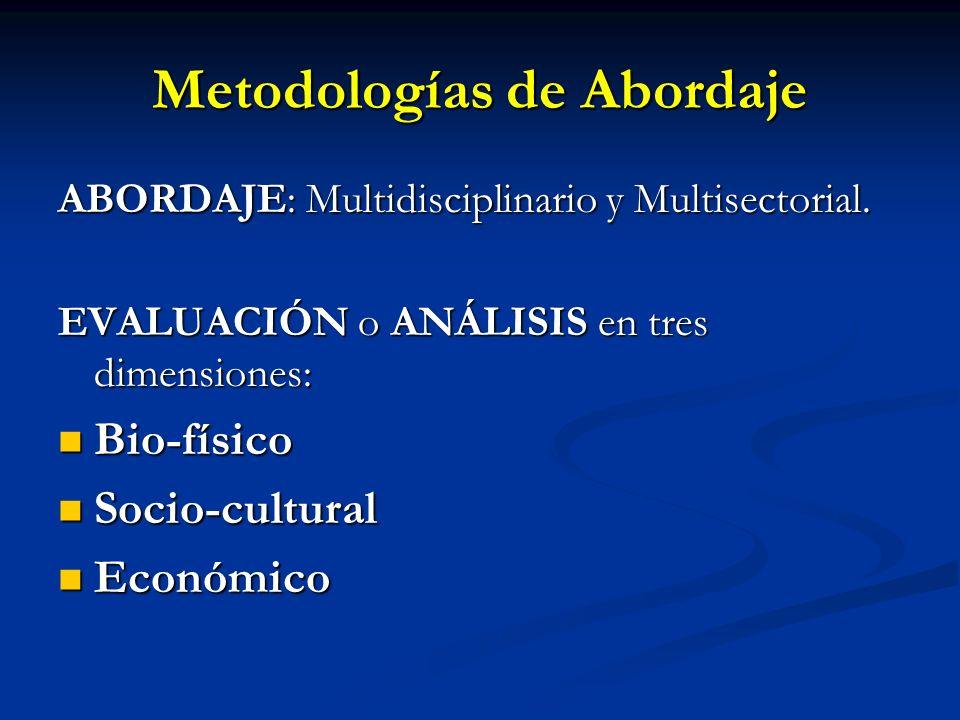 Metodologías de Abordaje ABORDAJE: Multidisciplinario y Multisectorial. EVALUACIÓN o ANÁLISIS en tres dimensiones: Bio-físico Bio-físico Socio-cultura