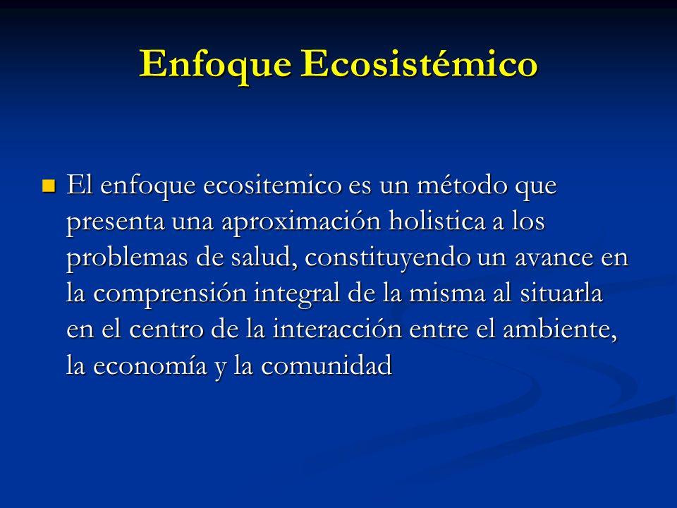 Enfoque Ecosistémico El enfoque ecositemico es un método que presenta una aproximación holistica a los problemas de salud, constituyendo un avance en
