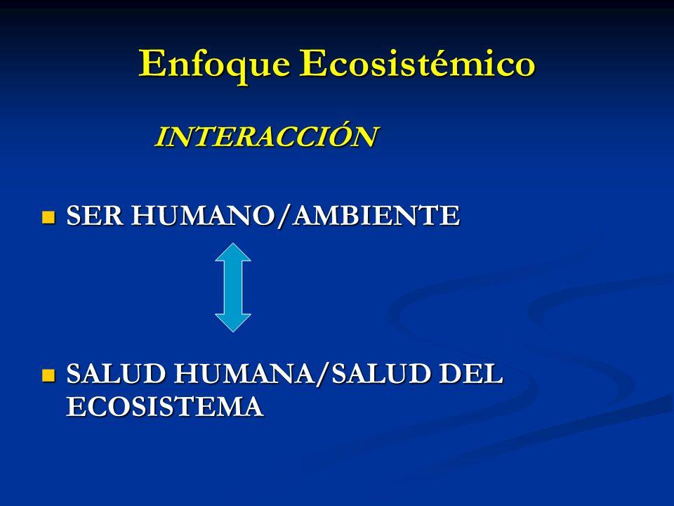 Enfoque Ecosistémico INTERACCIÓN INTERACCIÓN SER HUMANO/AMBIENTE SER HUMANO/AMBIENTE SALUD HUMANA/SALUD DEL ECOSISTEMA SALUD HUMANA/SALUD DEL ECOSISTE